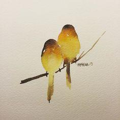 Love birds. Fine Art Watercolors from Awaisha Miller at www.awaisha.com