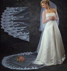 Custom made JL Johnson Bridal Lace Two Layer Cathedral Wedding Veil - beautiful! Affordable Elegance Bridal -