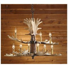 CASTLECREEK® 9-light Moose Antler Chandelier offers rustic hunting lodge charm.