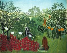 Charles Fonseca: Floresta tropical com macacos. Henri Rousseau.