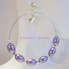 Clip PURPLE  2.5 inch Oval Faux Pearl Hoop Handmade Non-Pierced Earrings V209 #Handmade #Hoop