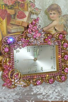 A Beautiful French Vintage Alarm Clock 17 Pink Bejeweled Endura Bayard By Stylebuilt-Weiss, Juliana,brush, comb, vintage, Clock,tray, mirror, perfume, antique, vintage, victorian, Sparkle,