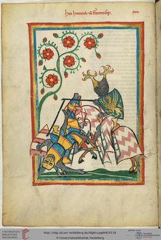 Mit großer Wahrscheinlichkeit ist auf dieser Miniatur Freiherr Heinrich von Frauenberg (1284-1305 bezeugt) beim Turnierkampf dargestellt. Sein Geschlecht stammt aus dem Schweizer Kanton Graubünden.
