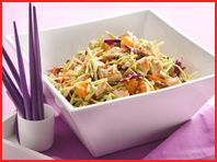 Chinese Chicken Salad from Hungry Girl.    PER SERVING (1/5th of recipe, 1 1/2 cups): 195 calories, 3g fat, 595mg sodium, 21g carbs, 4.5g fiber, 12.5g sugars, 22.5g protein -- PointsPlus® value 5*    Ingredients    One 16-oz. package dry broccoli cole slaw  One 8-oz. can sliced water chestnuts, drained  1 cup canned mandarin orange segments drained   1 cup chopped scallions  12 oz. cooked and chopped skinless lean chicken breast  3/4 cup low-fat sesame ginger dressi...