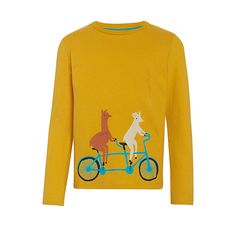 Buy Donna Wilson for John Lewis Llama on Tandem T-Shirt, Yellow, 2 years Online at johnlewis.com