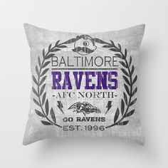 Baltimore Pride, Grey and purple distressed crest.  Throw Pillow by Kristy Patterson Design - $20.00
