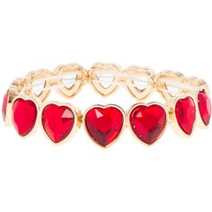Red Hearts Bracelet | Claire's ($4.55) ❤ liked on Polyvore featuring jewelry, bracelets, hearts, valentine and red heart jewelry