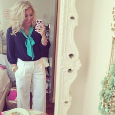 Annie Griffin top and linen pants