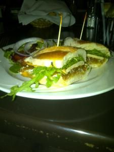 Chicken Sandwich with Goat Cheese and Arugula