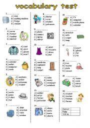 English worksheet: vocabulary test for elementary