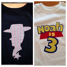 """Made two shirts in under two hours with a little fabric, freezer paper, and heat n' bond! My """"Toy Story"""" fanatic is going to love this for his third birthday next week!"""