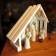 Nativity Creche Stable with Slant Roof for Willow Tree Willow Tree Nativity, Nativity Creche, Nativity Stable, Christmas Nativity Scene, Nativity Crafts, Christmas Snowman, Christmas Holidays, Christmas Crafts, Christmas Decorations