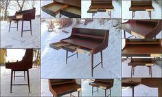 OLAPULTEN Topp Skrivebord Jon Texmon Design 1957 Blindheim 1962 Great Scandinavian Design Icon! Teak, Furniture Design, Dining Chairs, Retro, Antiques, Scandinavian Design, Home Decor, Antiquities, Antique