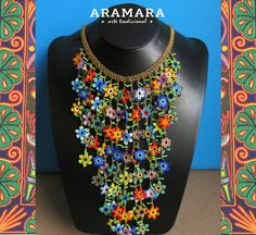 Mexican Huichol Beaded Flower Necklace and Earrings Set