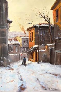 Image result for yağlıboya kış tabloları