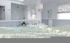 White Double Bathroom Vanity Sinks Marble Herringbone Tiles