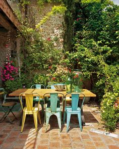 French patio furniture and garden.