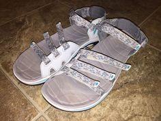 Womens L.L. Bean Mariner Gray Blue Water Sport 3 Straps Sandals Size 8 EC #LLBean #SportSandals