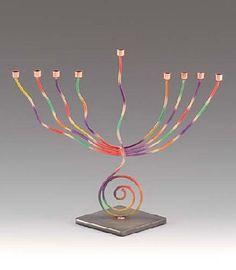 Infinity Art in Metal Colorful Spiral Menorah 1