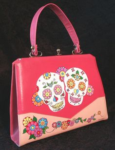 Hand Painted Vintage Handbag Day of the Dead by MoMosMadness at Etsy-