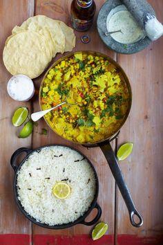Keralan Veggie Curry with poppadoms, rice & minty yohgurt http://www.jamieoliver.com/recipes/vegetables-recipes/keralan-veggie-curry-with-poppadoms-rice-minty-yoghurt