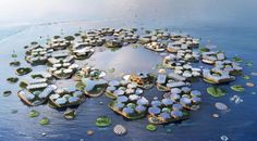 Oceanix City: De Drijvende Stad Op Zee by BIG Climate Change Meaning, Climate Change Effects, Floating Island, Floating Cities, Eco City, Diy Speakers, Concrete Blocks, Futuristic Architecture, Cinder