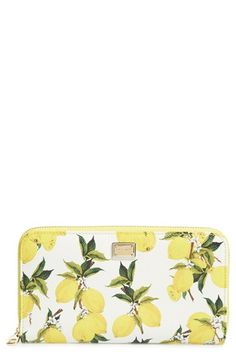 Dolce&Gabbana Lemon Print Zip Around Leather Wallet available at #Nordstrom