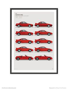 Features all the MR2 model variations. AW11, SW20, ZZW30.  Available in Red or White - Please specify which colour you would like.  Various sizes available.  These are high quality fine art prints. Printed using an Epson Stylus Pro printer onto 190gsm satin photo paper. Incredible detail, resolution and vibrancy.  Frame not included.