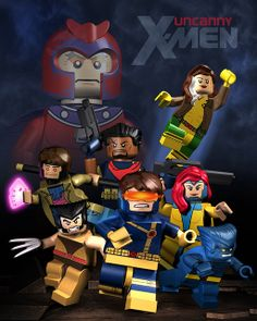 I've been re-reading my Jim Lee-era X-Men lately, and I just had to make something with them. I know, Marvel Girl and Bishop were technically with Storm's team, but I just thought they looked cooler here :) Minifigura Lego, Big Lego, Lego Games, Lego Toys, Cool Lego, Lego Marvel, Marvel Kids, Lego Minifigure Display, Lego Custom Minifigures