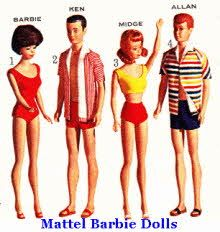 Mattel 60's Barbie, Ken, Midge and Allen Dressed For The Beach