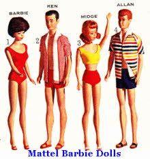 Mattel 60's Barbie, Ken, Midge and Allen Dressed For The Beach