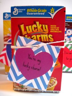 Cereal Valentines - with FREE printable tags - It's A Fabulous Life  Love these!!!