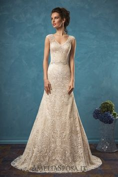 Amelia Sposa Vintage V-neck Lace Wedding Dresses Adele
