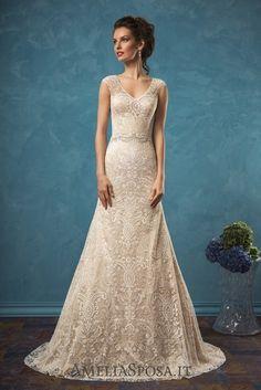 Amelia Sposa Vintage V-neck Lace Wedding Dresses Adele