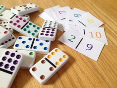 Domino Counting - Match jumbo dominos to color coordinated number cards! Kindergarten, preschool, homeschool or odder busy bags! YES!