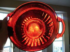Red depression glass bowl, beautiful