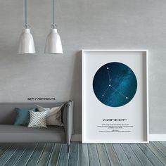 Cancer Star Constellation, Printable Art, Color Print, Instant download, Wall Poster, Astronomy, Navigation, Zodiac Sign, Gift Virgo Star Constellation, Star Constellations, Printable Art, Printables, Black And White Drawing, Art File, Color Print, Poster Wall, Astronomy