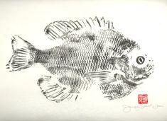Gyotaku - Fish Prints. Pretty enough for her, manly enough for him.