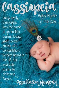 Love long names for girls? At five syllables, this mythological baby name is one of the longest you might consider. The original Cassiopeia was a braggart, which might give some parents pause. And yet, the sound of the name is intriguing. Baby Names Short, Baby Girl Names, Kid Names, Place Names, Girl Puppy Names Unique, Unique Baby Names, Female Character Names, Female Names, Nature Names