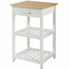 This thoughtfully designed kitchen cart is a perfect piece of furniture to help you reorganize your kitchen space! One large drawer and two open shelves provide ample storage for your kitchen and dining essentials. Rolling Kitchen Cart, Kitchen Trolley, Stools For Kitchen Island, Kitchen Islands, Wood Cart, Island Stools, Kitchen Pictures, Kitchen Furniture, Kitchen Decor
