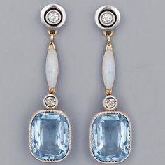 Art Deco Opal, Aquamarine & Diamond Earrings, 1920's.