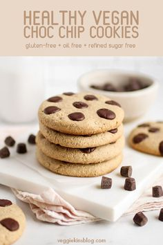 22 minutes · Gluten free · Serves · Easy chocolate chip cookies, made vegan, gluten-free and oil-free! Healthy Vegan Desserts, Healthy Treats, Easy Desserts, Vegan Chocolate Chip Cookies, Breakfast Dessert, Gluten Free Cookies, Snack Recipes, Vegan Recipes, Vegan Dishes