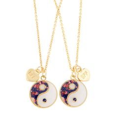 Floral Ying Yang BFF Necklaces