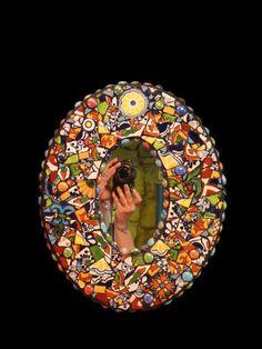 Talavera Tile Handmade Mosaic Mirror by KateSutcliffeMosaics