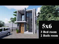 5 m* 6 m -Tiny house , small 2 story house, ,modern house, floor plan , free plan and 3d design - YouTube Small House Layout, Small Modern House Plans, Modern Small House Design, Small House Floor Plans, House Layout Plans, Minimalist House Design, 2 Story House Design, Village House Design, Modern House Philippines