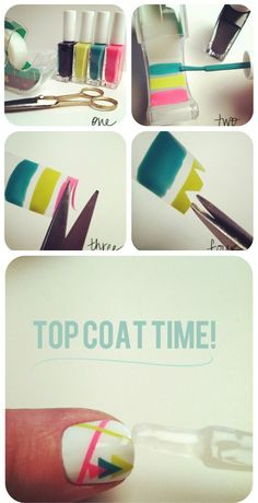 TECHNIQUE TO TRY This idea is SO clever and awesome! Paint on the tape before putting it on your nail, cut out bits, put on your nail, then do a clear top coat!