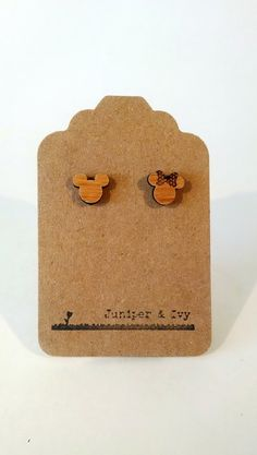 Disney Mickey and Minnie Mouse Silhouette on Alder Wood Laser Engraved and Cut Post Titanium Stud Earring Pair Cameo