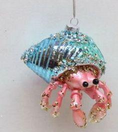 Blown glass White Beach Seal pink hat  coast   Christmas Ornament New NWT