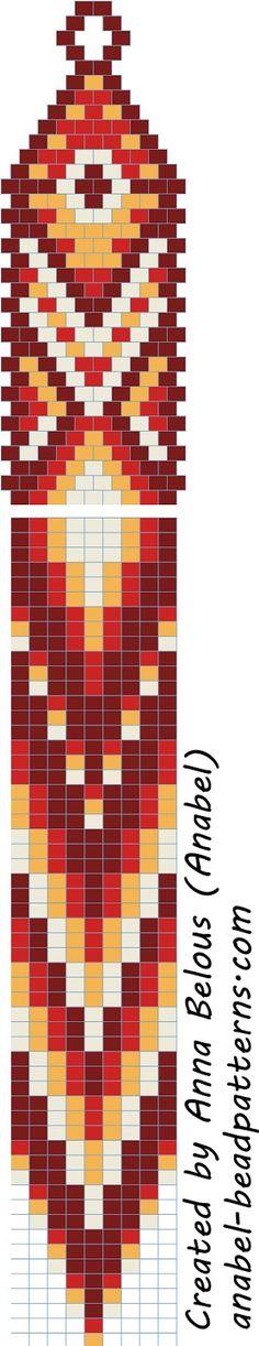 Схема длинных серег с бахромой - мозаичное плетение