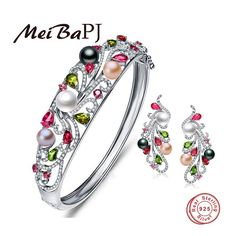 [MeiBaPJ] Luxury 925 sterling silver colorful pearl jewelry set bracelet and earrings with gift box wedding jewelry good present